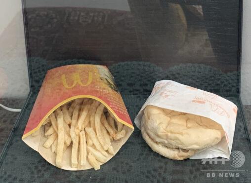 【環境?】「絶対に腐らない」10年前の2009年10月31日に購入されたマクドナのチーズバーガーとポテト