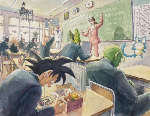 【画像】ドラゴンボールのヤムチャ先生の特別授業を描いた水彩画が17万いいね