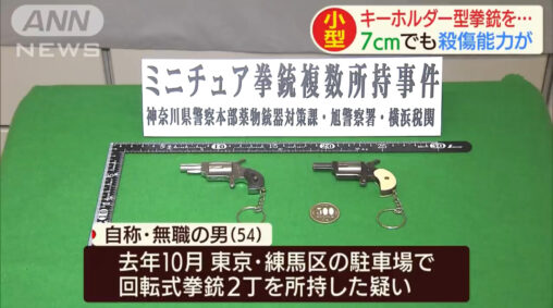 【ミニチュア】おもちゃの拳銃キーホルダーを所持していたとして無職の男を逮捕