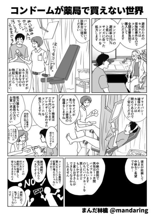 【まんだ林檎】女子「ピルが薬局で買えない状況を男子のコンドームに例えて漫画にしました」